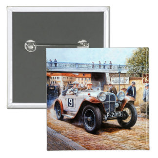 Jalopy racingcar painting 2 inch square button