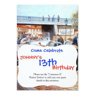 "Jalopy racingcar painting 5"" x 7"" invitation card"