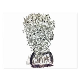 Jam Jar doodle Postcard