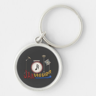 Jam Session Silver-Colored Round Keychain