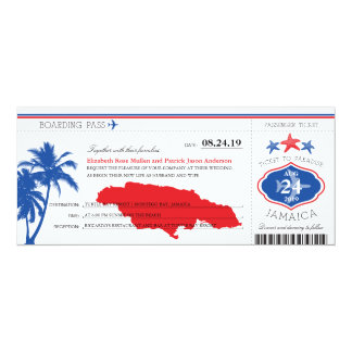 Jamaica Blue/Red Palm Tree Starfish Boarding Pass Card