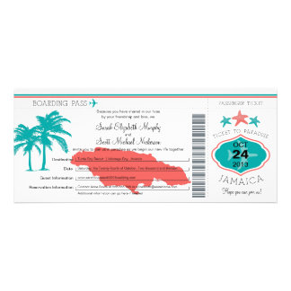 Jamaica Boarding Pass Wedding Invitations