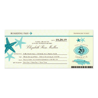 Jamaica Bridal Shower Boarding Pass Card