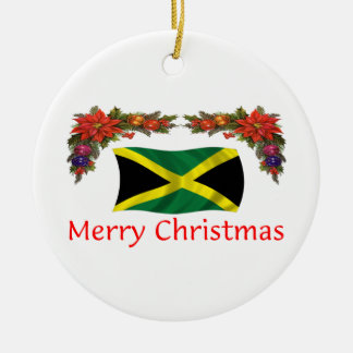 Jamaica Christmas Round Ceramic Ornament