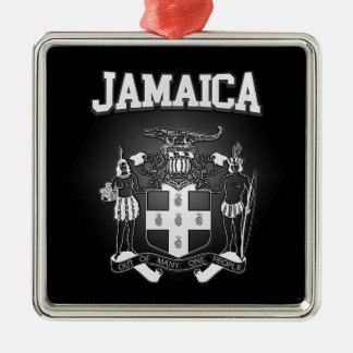 Jamaica Coat of Arms Silver-Colored Square Ornament