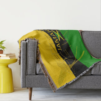 Jamaica Colors Named-Parishes Throw Blanket