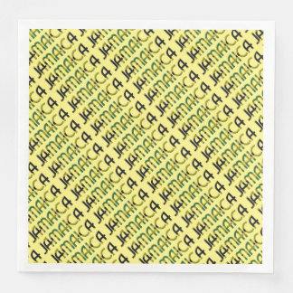 Jamaica Country Flag Colors Typography Holiday Paper Dinner Napkin