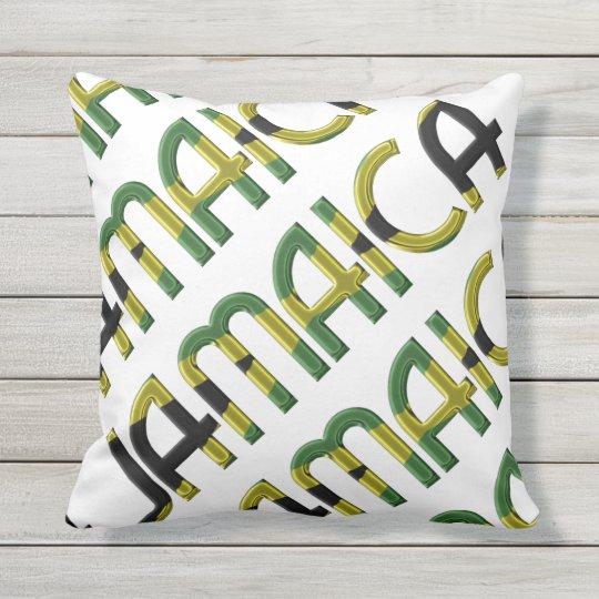 Jamaica Country Flag Colours Typography Souvenir Throw Pillow