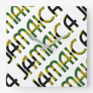 Jamaica Country Jamaican Flag Colors Typography Wallclock