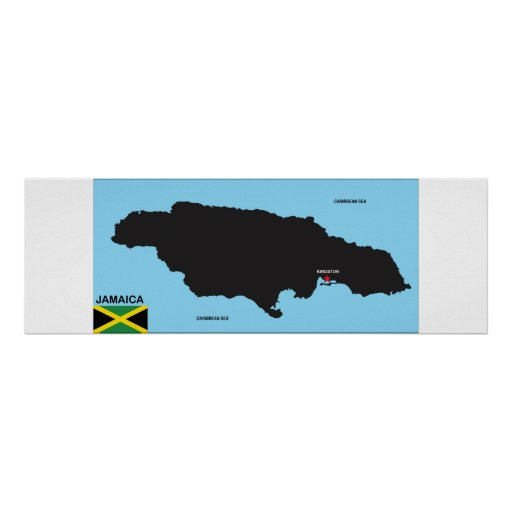 Jamaica country political map flag posters