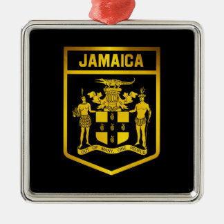 Jamaica Emblem Silver-Colored Square Ornament