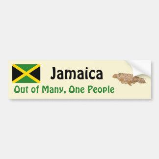 Jamaica Flag and Map Bumper Sticker