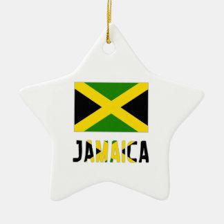 Jamaica  Flag and Word Ceramic Star Ornament