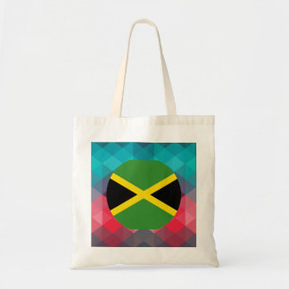 Jamaica flag circle on modern bokeh tote bag