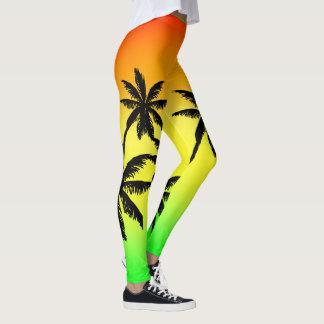 Jamaica Flag Colors Black Palm Trees Fade Leggings