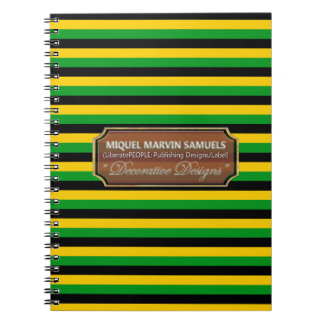 Jamaica Flag Colors  Stripes Designer Notebook