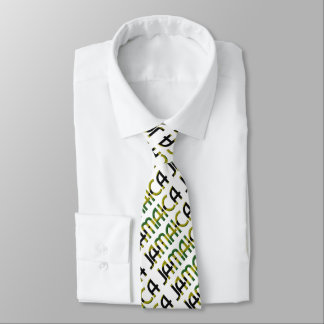 Jamaica Flag Colors Typography Pattern Tie