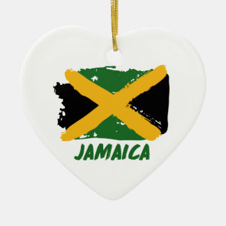 Jamaica flag design ceramic heart ornament