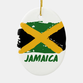 Jamaica flag design ceramic oval ornament