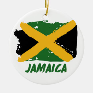 Jamaica flag design round ceramic ornament