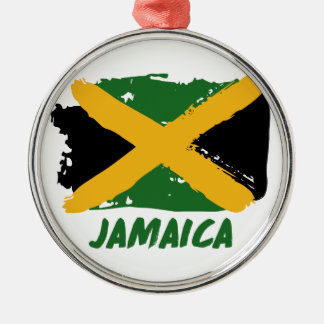 Jamaica flag design Silver-Colored round ornament
