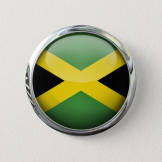 Jamaica Flag Glass Ball 2 Inch Round Button
