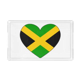 Jamaica Flag Heart Acrylic Tray