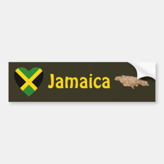 Jamaica Flag Heart + Map Bumper Sticker