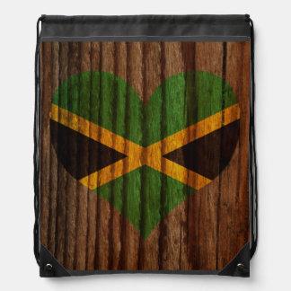 Jamaica Flag Heart on Wood theme Drawstring Backpacks