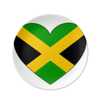 Jamaica Flag Heart Plate