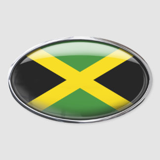 Jamaica Flag in Glass Oval Oval Sticker
