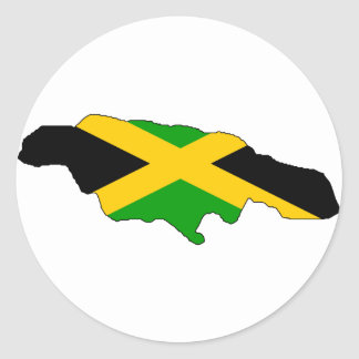 Jamaica flag map classic round sticker