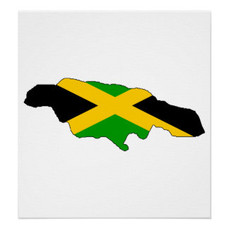 Jamaica Flag Map full size Poster