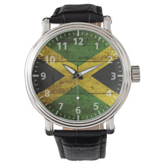 Jamaica Flag on Old Wood Grain Watch