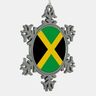 Jamaica Flag Pewter Snowflake Ornament