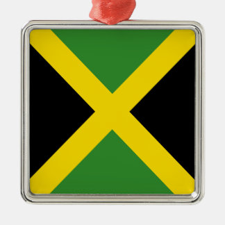 Jamaica flag  products Silver-Colored square ornament
