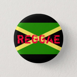 jamaica flag, REGGAE 1 Inch Round Button
