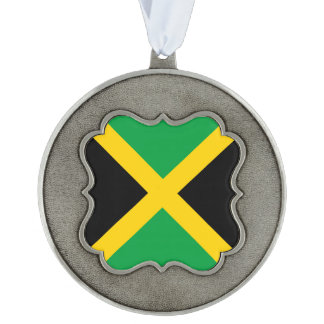 Jamaica Flag Scalloped Pewter Ornament