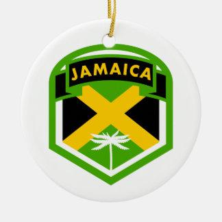 Jamaica Flag Shield Style Ceramic Ornament