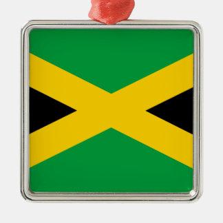Jamaica flag Silver-Colored square ornament
