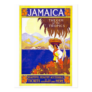 Jamaica Gem of the Tropics Vintage Travel Poster Postcard