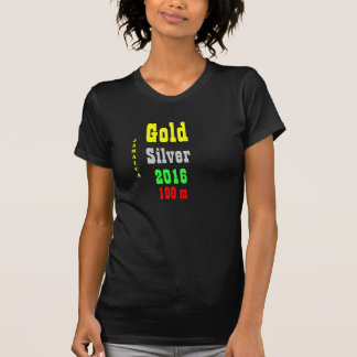 Jamaica  gold silver 100 meter t-shirts