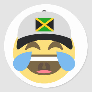 Jamaica Hat Laughing Emoji Classic Round Sticker