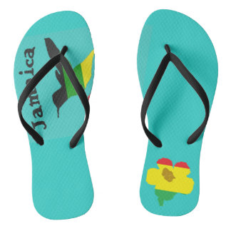 Jamaica, hummingbird and flower flip flops