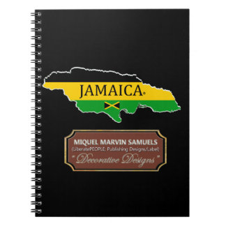 Jamaica Island outline Flag Colors Modern Notebook