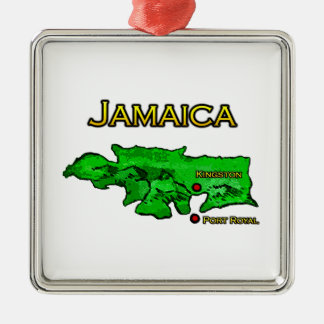 Jamaica Map (green-yellow-black) Metal Ornament
