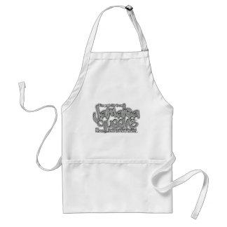 jamaica queens graffiti shirt (gray white font) standard apron