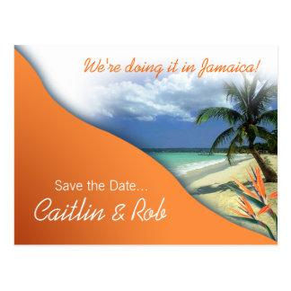 Jamaica Save The Date (papaya orange) Postcard