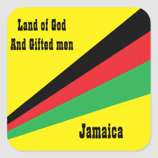 jamaica sticker-land of god and gifted men square sticker