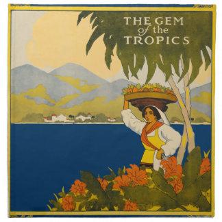 Jamaica The Gem Of The Tropics Vintage Travel Napkin